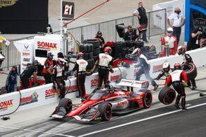 Rinus VeeKay, Ed Carpenter Racing Chevrolet, fait un arrêt au stand
