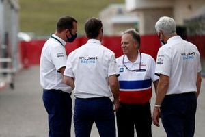 Gene Haas, Owner and Founder, Haas F1, talks with Williams Racing executives