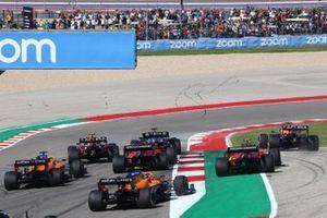 Lewis Hamilton, Mercedes W12, Max Verstappen, Red Bull Racing RB16B, Sergio Perez, Red Bull Racing RB16B, Charles Leclerc, Ferrari SF21, Carlos Sainz Jr., Ferrari SF21, Daniel Ricciardo, McLaren MCL35M, and Lando Norris, McLaren MCL35M