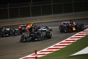 Lewis Hamilton, Mercedes F1 W11, Max Verstappen, Red Bull Racing RB16, Sergio Perez, Racing Point RP20, Alex Albon, Red Bull Racing RB16 and Valtteri Bottas, Mercedes F1 W11