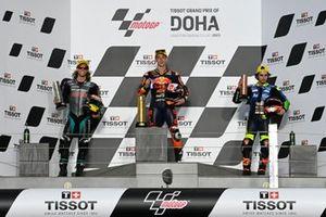 Pedro Acosta, Red Bull KTM Ajo Darryn Binder, Petronas Sprinta Racing Niccolo Antonelli, Reale Avintia Moto3 podium