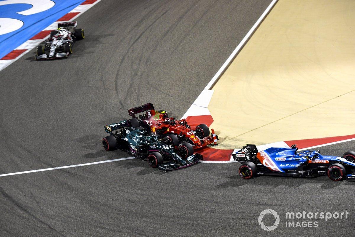 Fernando Alonso, Alpine A521, Lance Stroll, Aston Martin AMR21, Carlos Sainz Jr., Ferrari SF21, Antonio Giovinazzi, Alfa Romeo Racing C41