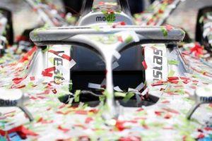 Confetti on the car of Stoffel Vandoorne, Mercedes-Benz EQ, EQ Silver Arrow 02, 1st position.