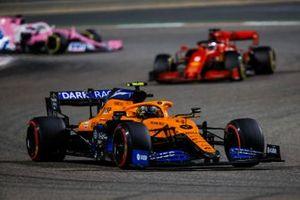 Lando Norris, McLaren MCL35, Sebastian Vettel, Ferrari SF1000, and Sergio Perez, Racing Point RP20