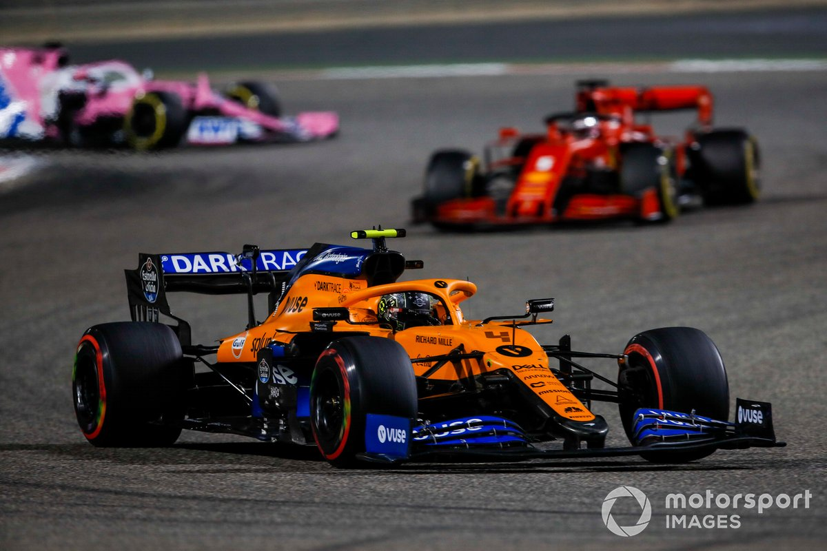 Lando Norris, McLaren MCL35, Sebastian Vettel, Ferrari SF1000, and Sergio Perez, Racing Point RP20