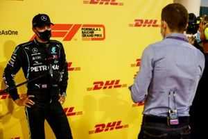 George Russell, Mercedes-AMG F1 is interviewed in Parc Ferme after Qualifying