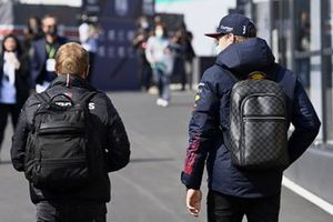 Valtteri Bottas, Mercedes, and Max Verstappen, Red Bull Racing