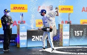Albert Lau, Race Engineer, Mercedes Benz EQ, Nyck de Vries, Mercedes-Benz EQ, 1st position, Nico Muller, Dragon Penske Autosport, 2nd position, celebrate on the podium with Champagne