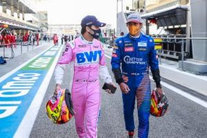 Sergio Perez, Racing Point, and Carlos Sainz Jr., McLaren