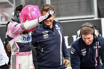 Esteban Ocon, Racing Point Force India F1 Team celebrates in parc ferme