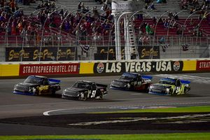 Brandon Jones, Kyle Busch Motorsports, Toyota Tundra Delta Faucet/Menards and Justin Haley, GMS Racing, Chevrolet Silverado Fraternal Order Of Eagles