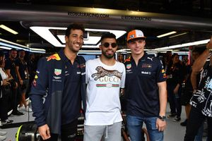 Sergio Aguero, Footballer with Daniel Ricciardo, Red Bull Racing and Max Verstappen, Red Bull Racing