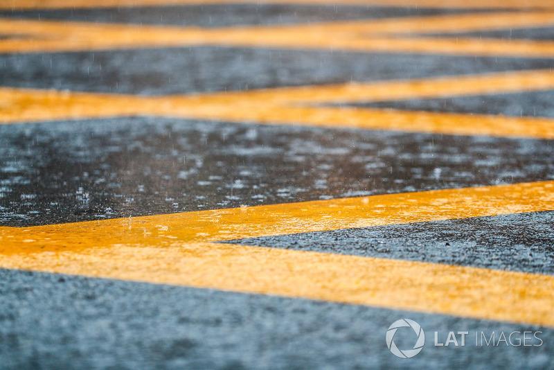 Rain falls in Monza