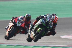 Jonathan Rea, Kawasaki Racing Team looking down at his bike