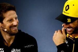 Romain Grosjean, Haas F1 and Daniel Ricciardo, Renault F1 Team In the Press Conference