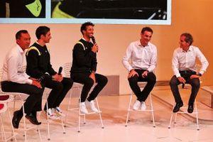Mia Sharizman, Renault Sport Academy Director; Esteban Ocon, Renault F1 Team; Daniel Ricciardo, Renault F1 Team; Cyril Abiteboul, Renault Sport F1 Managing Director; Alain Prost, Renault F1 Team Non-Executive Director