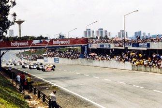 Gilles Villeneuve, Ferrari, Didier Pironi, Ligier, Jacques Laffite, Ligier, René Arnoux, Renault, al GP del Brasile del 1980
