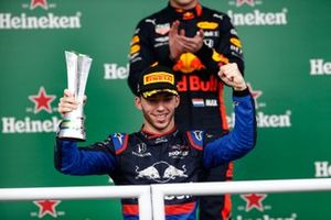 Pierre Gasly, Toro Rosso, 2nd position, celebrates with his trophy on the podium