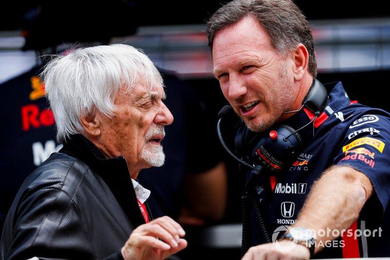 Bernie Ecclestone, Presidente emerito della Formula 1, e Christian Horner, Team Principal, Red Bull Racing