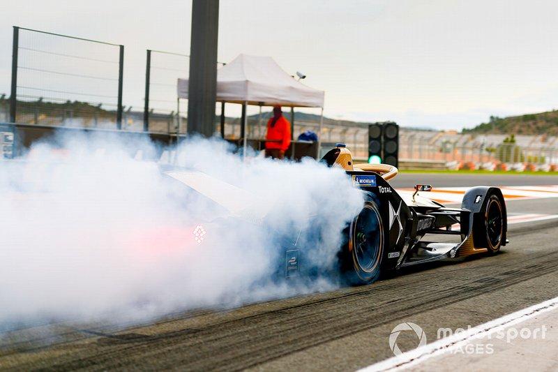 Jean-Eric Vergne, DS TECHEETAH, DS E-Tense FE20, fait de la fumée avec ses pneus