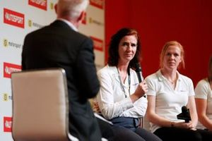 Catherine Bond Muir, W Series CEO and Alice Powell are interviewed on the Autosport stage