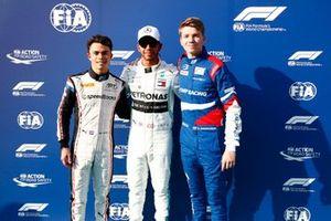 F2 champion Nyck De Vries, ART Grand Prix, F1 champion Lewis Hamilton, Mercedes AMG F1, and F3 champion Robert Shwartzman, PREMA Racing