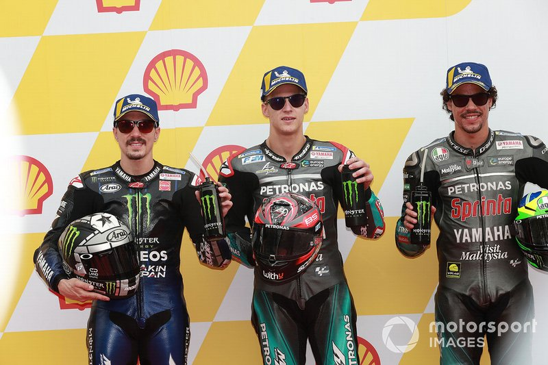 Polesitter Fabio Quartararo, Petronas Yamaha SRT, secondo classificato Maverick Vinales, Yamaha Factory Racing, terzo classificato Franco Morbidelli, Petronas Yamaha SRT