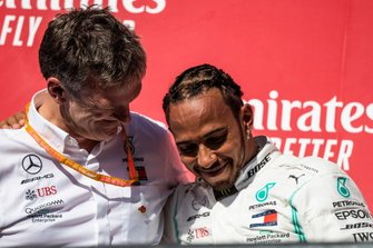 James Allison, Technical Director, Mercedes AMG, and Lewis Hamilton, Mercedes AMG F1, 2nd position, on the podium