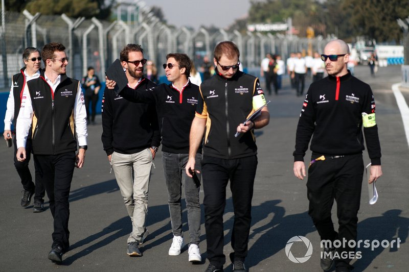 Jean-Eric Vergne, DS Techeetah, Antonio Felix da Costa, DS Techeetah walk the track with members of the team