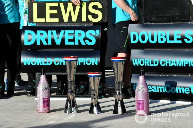 The Mercedes trophy haul and Champagne bottles