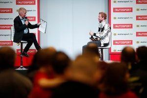 Presenter Alan Hyde talks to Rick Parfitt jnr on the Autosport stage