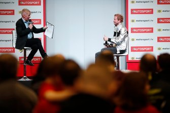 Presenter Alan Hyde talks to Rick Parfitt jnr on the Autosport stage