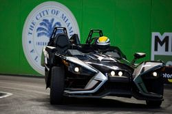 Gabriel Glusman driving the Polaris Slingshot SLR