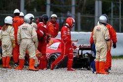 Kimi Raikkonen, Ferrari SF70H after the crash