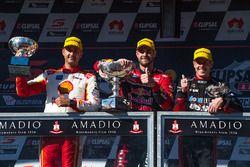 Podium: race winner Shane van Gisbergen, Triple Eight Race Engineering Holden, second place Fabian Coulthard, Team Penske Ford, third place James Courtney, Holden Racing Team