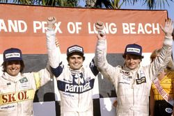 Race winner Nelson Piquet, Brabham BT49-Ford Cosworth; second place Riccardo Patrese, Arrows A3-Ford