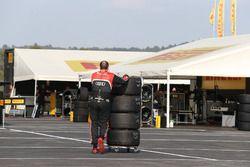 Team member of Belgian Audi Club Team WRT in the paddock