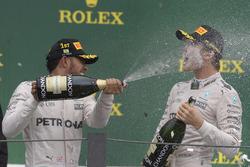 Podium: race winner Lewis Hamilton, Mercedes AMG F1, Nico Rosberg, Mercedes AMG F1