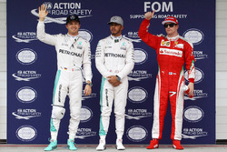 Qualifying top three in parc ferme (L to R): Nico Rosberg, Mercedes AMG F1, second; Lewis Hamilton, Mercedes AMG F1, pole position; Kimi Raikkonen, Ferrari, third