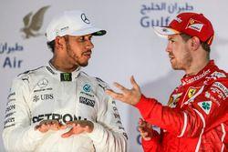 Podium: 2. Lewis Hamilton, Mercedes AMG, 1. Sebastian Vettel, Ferrari
