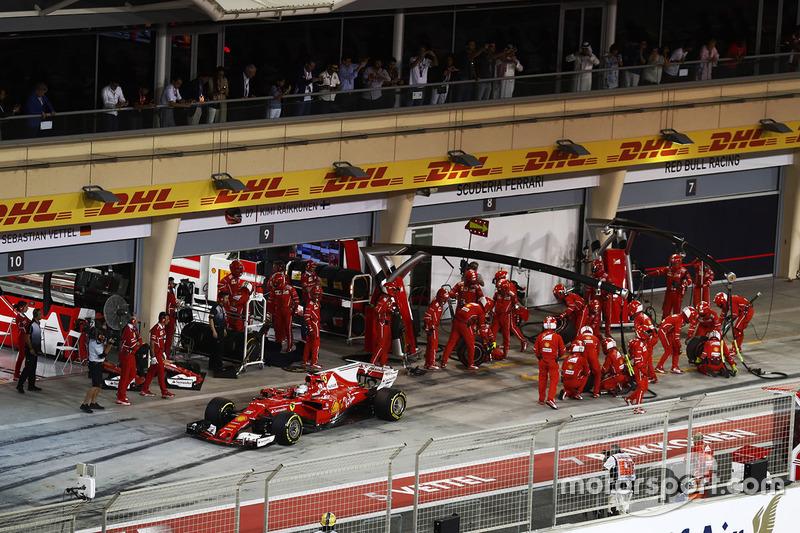 Sebastian Vettel, Ferrari SF70H, makes a pit stop