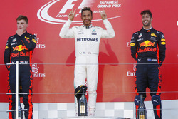 Podium : le vainqueur Lewis Hamilton, Mercedes AMG F1, le deuxième, Max Verstappen, Red Bull Racing, le troisième, Daniel Ricciardo, Red Bull Racing