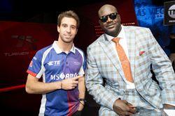 Antonio Felix da Costa, Amlin Andretti Formula E Team, points to basketball legend Shaquille O'Neal