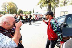 Lewis Hamilton, Mercedes AMG F1, arrives at the circuit