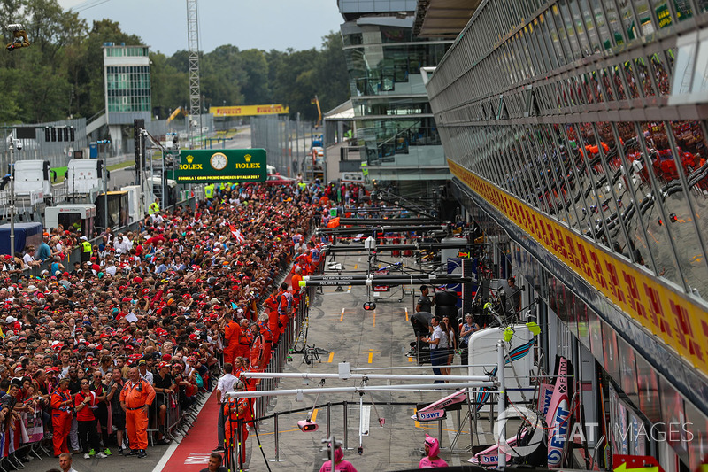 Ferrari fans on the pitlane walkabout