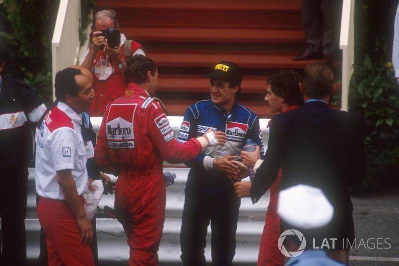 Winner Ayrton Senna, McLaren, second place Jean Alesi, Tyrrell, third place Gerhard Berger, McLaren,
