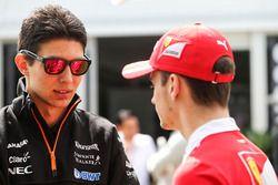 Esteban Ocon, Sahara Force India F1 Team with Charles Leclerc, Ferrari Development Driver
