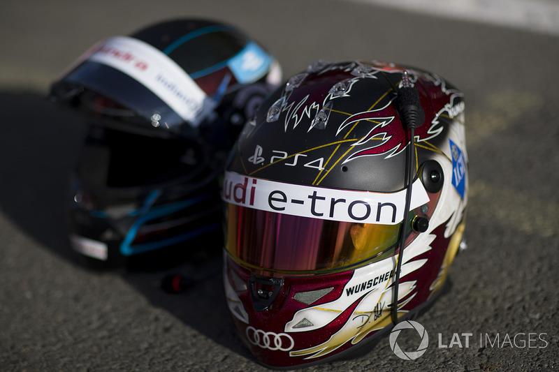 Helmets of Nick Heifeld, Mahindra Racing, Daniel Abt, Audi Sport ABT Schaeffler