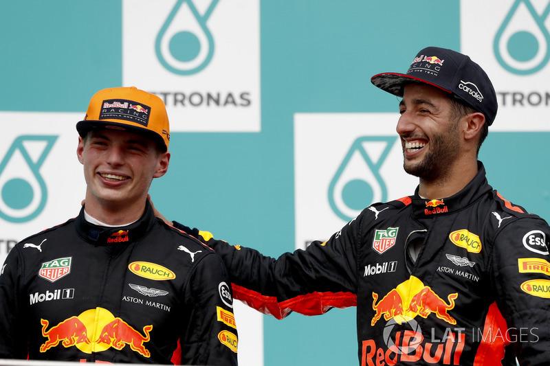 Max Verstappen, Red Bull Racing, race winner, Third place Daniel Ricciardo, Red Bull Racing, on the podium