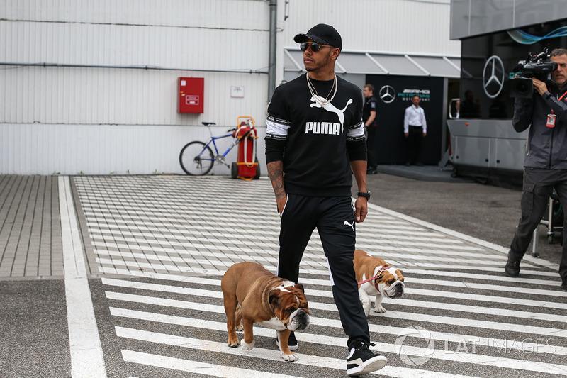 Льюіс Хемілтон і його собаки Коко та Роско